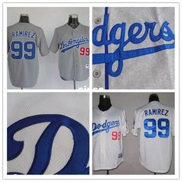 Wholesale 30 Teams New Arrival Manny Ramirez jersey Los Angeles Baseball Jerseys white gray cheap Authentic sport best buy direct china