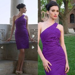 Hot Sale Sheath Short Purple Bridesmaid Dresses One Shoulder Sexy Prom Cocktail Gowns Christmas Party Women Dress