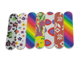 Wholesale 50 MINI COLORFUL EMERY BOARDS Nail Files Buffer Buffing Crescent Grit Sandpaper File NFZ009