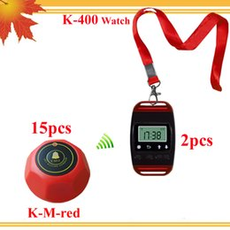 Number waiting system restaurant paging system 2pcs wristwatches pager with neck rope and 15pcs singcall button press counter