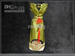 Unique Chinese knot Wedding Wine Bottle Decorate Cover Bags Satin Fabric Packaging Pouches 10pcs lot mix color