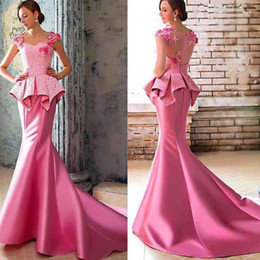 2019 Pink Prom Dress Mermaid evening dresses for women Cap Sleeve off the Shoulder Sweep Train Lace prom gowns