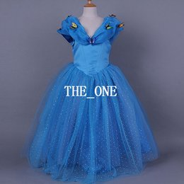cinderella kids dress 2015 Cinderella Butterfly Dress children movie dress fairy tale girl cinderella party dress blue ball gown