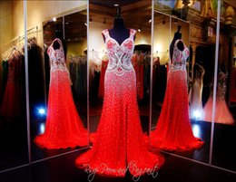 Wholesale 2015 Luxury Crystal Red Pageant Dresses With Sweetheart Cap Sleeves Side slit Mermaid Prom Sparkling Silver Beading Red Carpet Evening dress