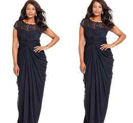 Wholesale New Sexy Cheap Plus Size Formal Dresses Bateau Applique Sheath Chiffon Floor Length Sheer Evening Gown Formal Mother of the Bride Dress