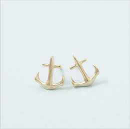 Fashion anchor earrings Sailors love stud earrings for women wholesale free shipping18K Gold Plated Classic stud earrings