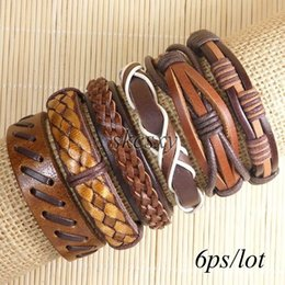 Free shipping wholesale (6pcs lot) cool bangles ethnic tribal genuine adjustable leather bracelet for Men-TE135