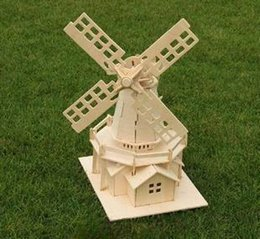 Wholesale-Educational toys Wooden Model Windmill 3d Puzzle DIY Scale Models