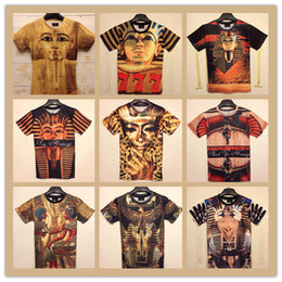 Wholesale New Casual fashion women men Ancient Egyptian pharaoh Double print funny D Tshirts Cotton galaxy tops tees
