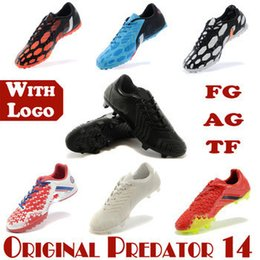 Wholesale 2014 Top Quality Predator Absolado Instinct TF AG FG Soccer Shoes Battle Pack Mondo Nero Arancione Bianco soccer Boots