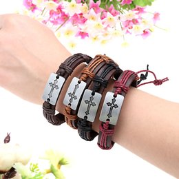 Wholesale Classic Man Leather Bracelet Cross Black Punk PU Leather Bracelets Bangles Cowhide Punk Bracelet For Male Best Quality J0185