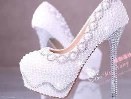 Fashion White Pearl Crystal Bridal Shoes 10CM 12CM 14CM Slimmer High Heel Wedding Shoes Platform Evening Prom Party Women Shoes US Size 4-9
