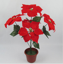 Wholesale christmas flower poinsettia artificial flowers poinsettia christmas home festival decoratiion flower cm Head Poinsettia Flower SF009