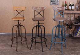 Wholesale Industrial loft style wrought iron bar stools wood bar chair lift Elm rotation spot retro bar stool bar stool Cinnamon black blue Wheel Bar