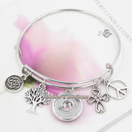 Wholesale New Fashion Interchangeable Alex and Ani Tree of Life Cross Peace Sign Celtic Knot Inspired Adjustable Ginger Snap Bangles Bracelets Jewelry