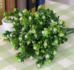 5 Bundles Artificial Milan grass Branch Leaf-shaped For Home Office Wedding Garden Decoration
