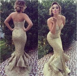 New Sexy Sweetheart Beading Sequined Ruffles Gold Mermaid Formal Dress Arabic Sweep Train Prom Dresses