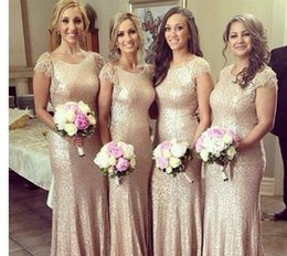 2016 Luxury Rose Gold Bridesmaids Dresses with Sequined Cap Sleeves Cheap Junior Bling Champagne Bridesmaid Dresses