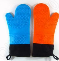 Wholesale 5 design Heat Resistant Silicone BBQ Gloves Cooking Grill Gloves and Oven Mitts Cotton Kitchen Cooking Baking Gloves KKA02