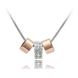 18K 3 Rings Pendant Necklace Full Rhinestone Jewelry Austria Crystal Alloy Necklace Jewelry For Women Best Gift 4068