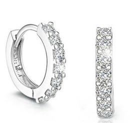 Top Grade Silver Earrings Hot Sale Crystal Hoop & Huggie Earrings for Women Girl Wedding Party Jewelry Wholesale Free Shipping - 0036WH