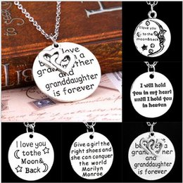 Wholesale 50PCS NEW stlyes letter text necklace Grandmother circular pendant i love you necklace fashion moon necklace best gift for friend BFH527