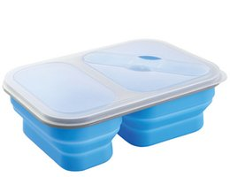 Silicone Food Container 2 Rooms 100% Silicone Folding Food Box With Spoon Fork Locked Fruit Story Case Portable Oven Safe