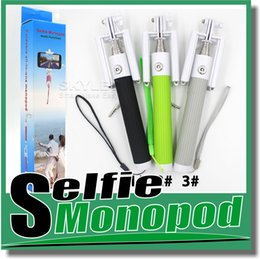 Wholesale multi function all in one foldable with groove Cable Take Pole Self Timer Kit Extendable Monopod Handheld Selfie Stick Rod Wired