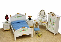 Wholesale Palace Bedroom Furniture Miniature in1 Toy Set Bed Dressing table Side cabinet Wardrobe Chair Dollhouse Accessories Mirror