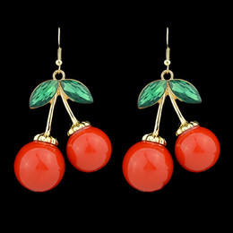 Wholesale Red Color charry Created Gemstone Big Evening Dangle Earrings for Party Women Gift