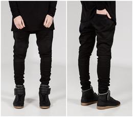 Wholesale 2016 Men Classic Jeans Balmain Skinny Jeans Blue Knee Drape Panel Moto Biker Jeans Fashion Style Pants
