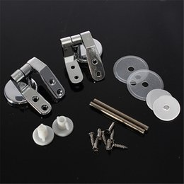 Wholesale Silver Toilet Seat Sturdy Hinge Toilet Mountings Repair Sets Replacement with Screws Bathroom Accessories Bath Hardware Sets