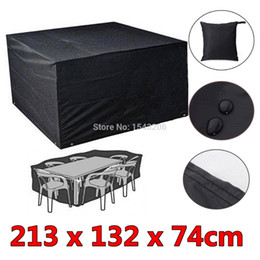 Wholesale 6 Seaters Dust Waterproof Outdoor Garden Furniture Rain Cover Shelter Rattan For Cube Table Chair Black order lt no track