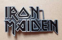 Iron Maiden black enamel rock n roll music belt buckle