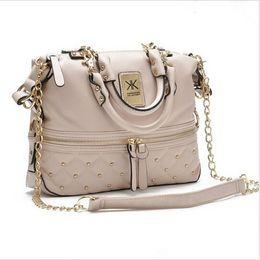 Wholesale Kim kardashian kollection kk shoulder bag designer brand bag handbags women rivet fashion bucket gold chain messenger bags