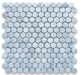 Wholesale 1inch tile Italy Bianco carrarra white marble tile hexagon mosaic tile wall mounted mesh marble tiles long last beauty fashion home decor