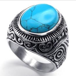 Men's Oval Turquoise Gem Stone Stainless Steel Finger Ring US Size 7 8 9 10 11 12 13