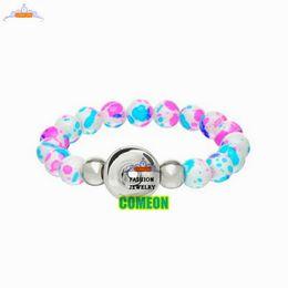 Wholesale Natural stone bracelet New Fashion Snap Button Stretch Bracelet DIY Glass Beads White Spray Paint bracelets for women