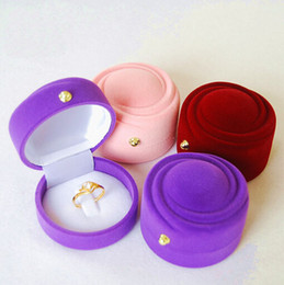 New Velvet Ring Box ring box, round shape Jewelry Display Gift Case,sold per bag of 20 pcs