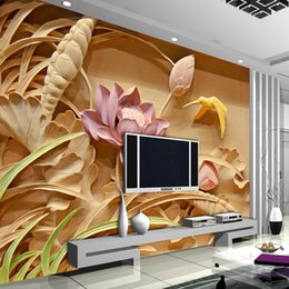 3D Woodcut Lotus Flower Wallpaper Personalized Custom Wall Murals Photo wallpaper Kids Bedroom Living room Office Shop Art Room decor Silk