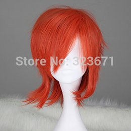 Wholesale D Gray man LAVI Orange short straight men wigs cosplay costume wig anime wig