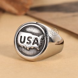 Mens Punk Gothic Silver USA Symbol 316L Stainless Steel Finger Ring Size 7-13