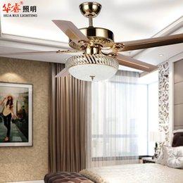 Wholesale Minimalist vintage art deco crystal ceiling fan with light Bronze Chandelier LED lights brief ikea dining room restaurant living room v