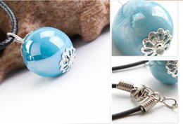Wholesale hand made simple fashion Candy color ball long rope Necklace women Ceramic beads pendant blue red white birthday gift
