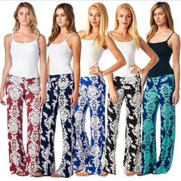 2016 European and American Womens Floral Print Wide Leg Palazzo Trousers Summer Beach Straight Casual Yoga Loose Cotton Blend Pants