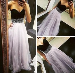 Light Purple Tulle Long Evening Prom Dress 2016 Sweetheart Sleeveless Beaded Homecoming Dress Floor Length Sequined Formal Party Gowns