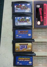 Wholesale Super mario series gameboy advance game GBA games card superper Mario bros kart Racing Series
