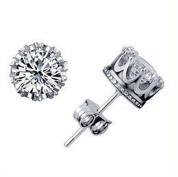 Wholesale Crystal Silver Crown Wedding Stud Earring Engagement Jewelry