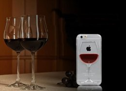 Wholesale 3D Red Wine Cup magic Crystal clear transparant plastic Flowing Cover For Apple iPhone s Plus Phone Cases