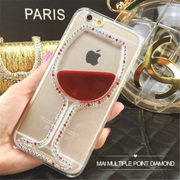 Wholesale Liquid Case Soft Silicone Case For iphone s s s plus D Red Wine Aquarium Case Wine Cup Liquid Transparent Color